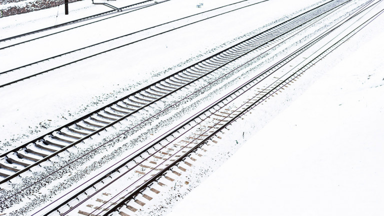 Rail tracks in the snow